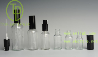 empty clear glass essence aluminum dropper base bottle