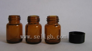 1ml amber Reagent Glass Bottle & Vials with black cap