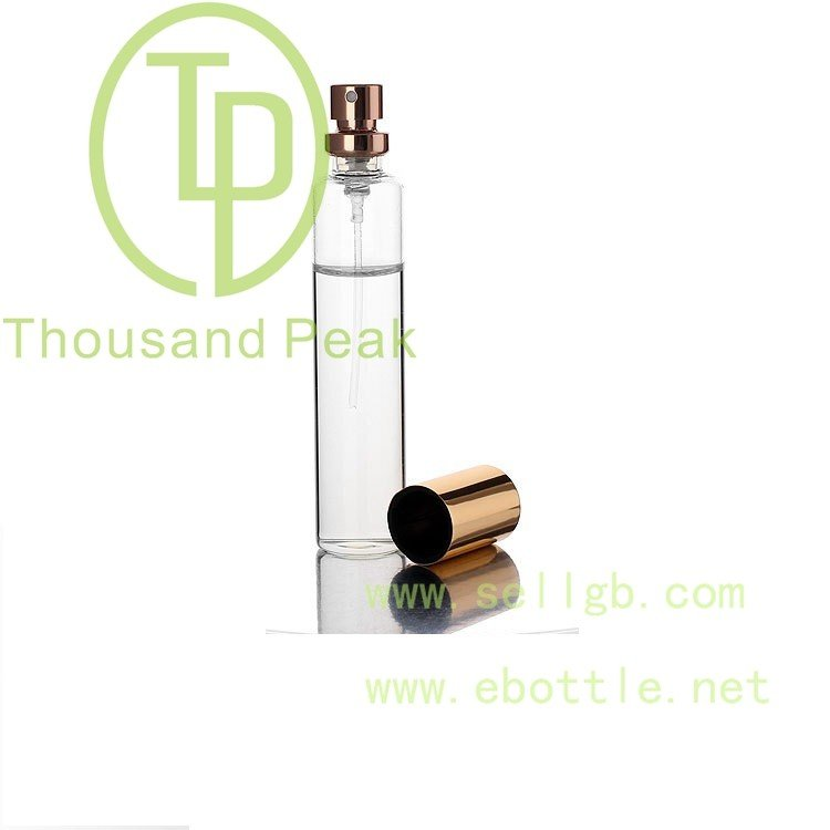 Freee shipping 10ml glass tube perfume spray bottle with pump and cap