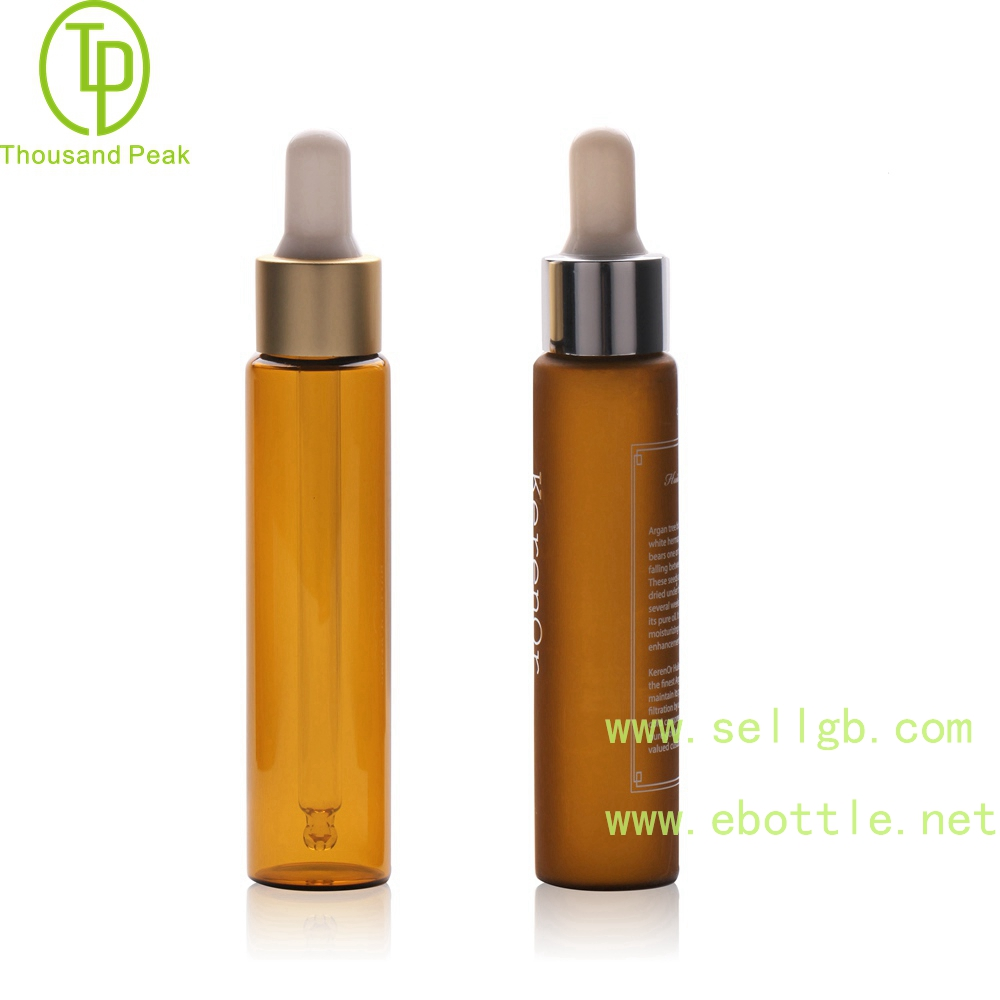 TP-2-150 30 ml frosted amber cosmetic glass dropper bottle