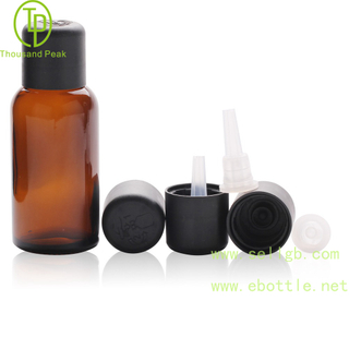 TP-2-61 Deep amber glass bottle with child resistant tamper evident cap and orifice reducer